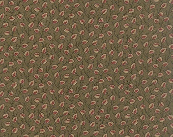 OLD CAMBRIDGE PIKE Moda fabric by the half yard 100% quilt weight cotton Civil War tan red leaves on green 8322-12 Barbara Brackman