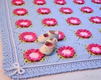 CROCHET PATTERN - Cottage Charm - crochet blanket pattern, afghan pattern, baby blanket pattern, flower blanket - Instant PDF Download