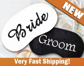 Bride and Groom Wedding Custom Made Embroidered Eye Masks - SALE  - favorite on pinterest tumblr instagram polyvore