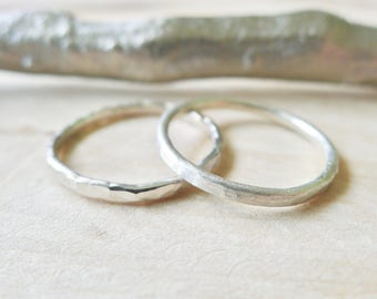 Sterling Silver, Stacking Ring, Hammered Ring, Simple Ring, Modern Ring, Shiny Ring, Simple Stacking Ring, Stacking Rings, Thin Band