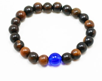 Tiger Ebonywood Wrist Mala Bracelet - 21 Bead Plus Cobalt Blue Czech Glass Guru Bead Yoga Bracelet