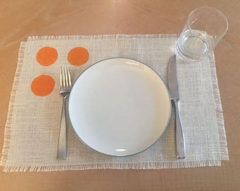 Polka Dot Placemat with Orange Circles 12x18, Burlap Placemats, Modern Placemats, Modern Table Settings, Home Decor