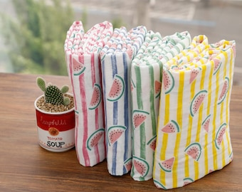 kddm Double 100% Cotton Gauze Fabric Baby clothing Gauze Printed Muslin_Stripe Watermelon_CH977500