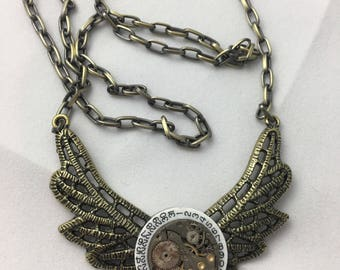 Winged Watch Movement Steampunk Necklace