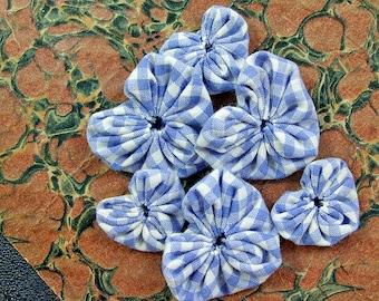 Fabric yoyos blue gingham hearts 12 pcs 6 small 6 medium all cotton fabric, heart shape fabric yoyos, applique embellishments.