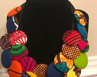 African print bib necklaces