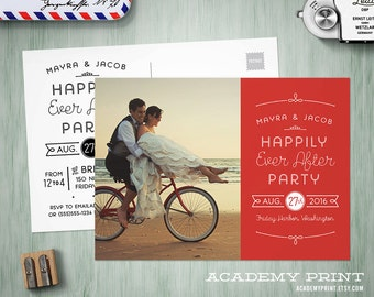 Printable Post Wedding Photo Postcard Invitation, Happily Ever After Save the Date w/ Postcard Back, Wedding Reception Invite, Elopement