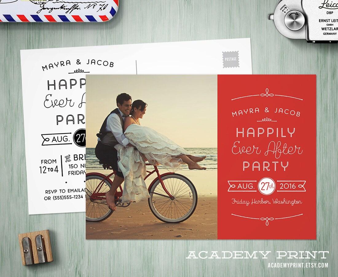 Post Wedding Invitations Reception: Printable Post Wedding Photo Postcard Invitation Happily Ever