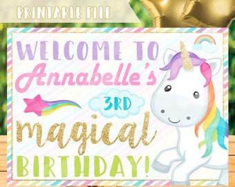 Unicorn Birthday Sign, Rainbow Unicorn Welcome Sign, Unicorn Sign, Rainbow Sign, Unicorn Party Sign, Magical Birthday Sign, Unicorn Decor