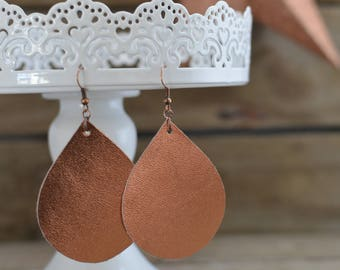 Shiny Copper Teardrop Earrings with copper ear wires