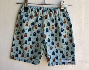 Boys shorts , blue bears in forest ,linen cotton fabric