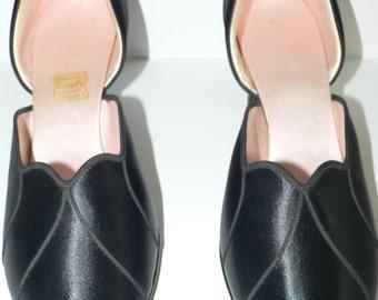 1940s Daniel Green Boudoir Slippers  Black Satin Like New