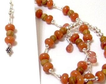 Peach Aventurine Oregon Sunstone Three Piece Signature Design ... includes necklace bracelet and earrings too