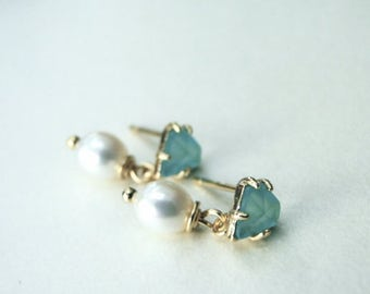 Dangle Earrings / Mint Beveled Glass Freshwater Pearl Earrings / Gold Plated Studs / Mint and Pear Drop Earrings / Mother's Day Earrings
