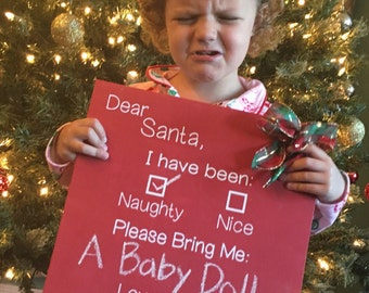 Diy kit first day of school sign chalkboard sign craft diy kit naughty or nice red chalkboard sign letter to santa yearly santa solutioingenieria Choice Image