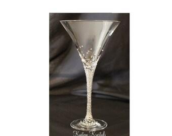Swarovski Crystal embellished martini glass. Gradient Design. Bride Glass, bridesmaids, bachelorette, weddings, girls night.