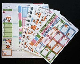 Kawaii Foxes Weekly Planner Kit!  Available for Erin Condren Life Planner or MAMBI/Happy Planner