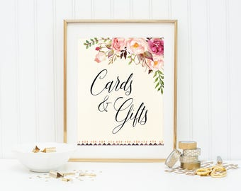 Cards And Gifts, Wedding Sign, Wedding Decor, Wedding Cards Sign, Table Sign For Cards, Gifts and Cards, Reception Sign, Floral Wedding