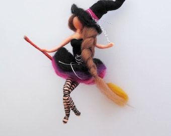 mothers day gift, felted witch, Witch doll, emo style, gothic doll, Waldorf, trick or treat, child mobile, gift for her,