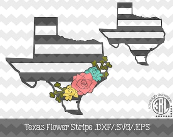 Texas Stripe with Flowers design INSTANT DOWNLOAD in dxf/svg/eps for use with programs such as Silhouette Studio and Cricut Design Space