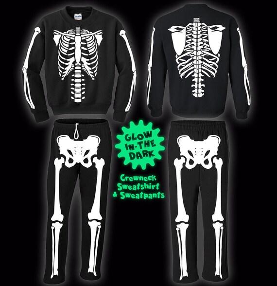 Full Skeleton Halloween Costume Sweatshirt and Sweatpants and Glows In The Dark! x95sCRV9B