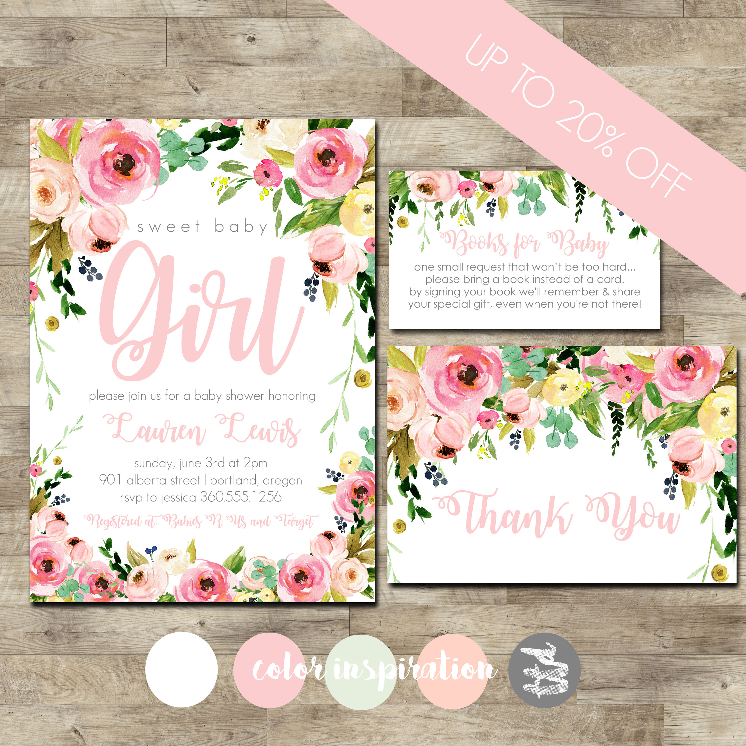 Watercolor flower baby shower invitation package girl baby shower watercolor flower baby shower invitation package girl baby shower invitation girl baby shower invite blush pink floral shower package filmwisefo