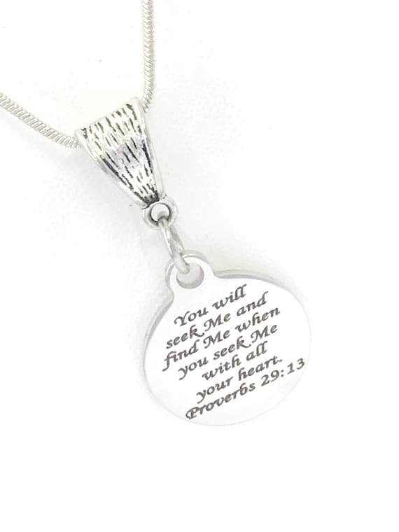 Christian Necklace, Seek Me And Find Me, Proverbs 29 13 Necklace, Christian Jewelry, Christian Gifts, Bible Verse Necklace, Baptism Necklace