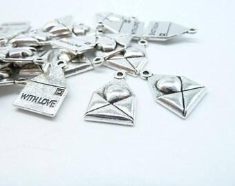 20pcs 12x18mm Antique Silver Heart Mail Letter Charms Pendant c6392