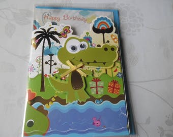 x 1 card double 3D multicolored crocodile pattern + envelope blue 18 x 12 cm