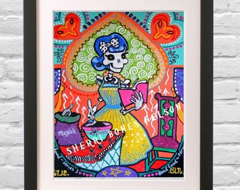 Colorful Kitchen Art la Catrina 50s Cook Mexican Folk Art Print Magic Bakery Day of the Dead Kitchen Decor