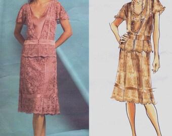 DKNY OOP Vogue Nähen Muster V2877 Womens V Ausschnitt Top & eine Linie Rock Größe 6-8-10 Büste 30 1/2 bis 34 flattern Ärmel amerikanischen Designer