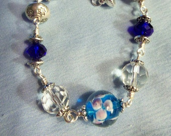 Blue, crystal and silver bracelet, Glass beads, Silver beads, Glass and Silver bead Jewelry, Jewelry