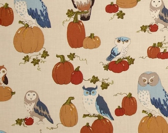 "October Owls Alexander Henry Fabric 2 Yards x 44"" Pumpkins Fall Holiday Harvest Cotton Quilting Yardage Brown Orange Blue"