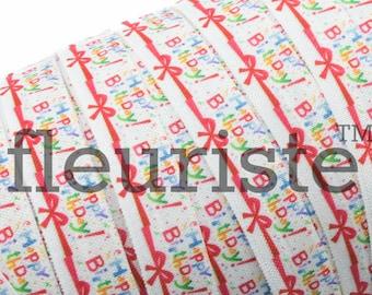 Fold Over Elastic, FOE, Foldover Elastic, Elastic By The Yard, 5/8 Elastic, Elastic, Printed Elastic, Wholesale Elastic, Happy Birthday FOE