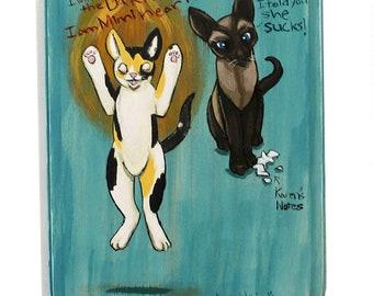 My Favorite Murder Art - Small Original Wall Art Acrylic Painting on Wood by Karen Watkins - Elvis and Mimi Cat Murderino Art