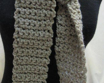 Brown Taupe Mohair Wool Angora Scarf 67 x 3.5 Long Handmade Crochet knit Unique Fathers Day Gift Mans Womans Organic Natural Stylish Organic