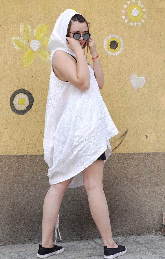 Linen Tunic Top | White Linen Top | Summer Tunic | Smock Top | Loose Fit Top | Asymmetric Hoodie | Lagenlook Tunic| Linen Blouse |