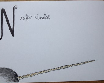 N is for Narwhal - Pen, Pencil and Pastel Nursery Sketch