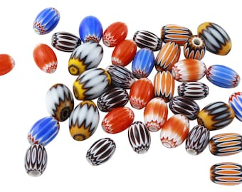 28 Pcs 6x8-7x11 mm African Glass Beads Mix Lot (GAF100106)