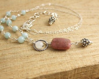 Necklace with Amazonite, Moonstone, Lapidolite and Bali Beads Wire Wrapped with Sterling Silver Wire to a Sterling Silver Chain CDN-733