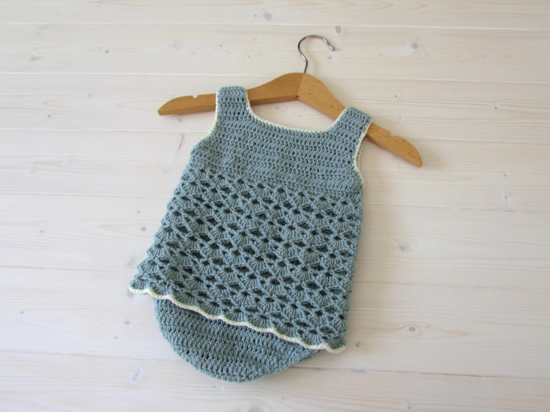 Crochet Lace Baby Romper Written Pattern