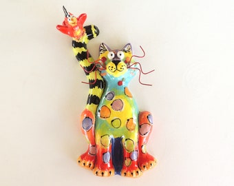 Cat Decor, Whimsical Cat, Kids Room Art, Kitchen Decor, Cat Sculpture, Wall Hanging, Cat with Bird, Vet Gift, Dottie Dracos, FSCwBBluetoRed