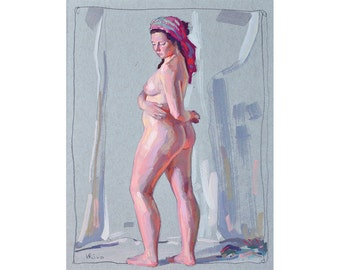 Original Gouache Painting- Girl Posing - FREE SHIPPING WORLDWIDE
