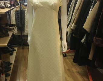 70's  vintage  cut work  white lace halter neck maxi dress.