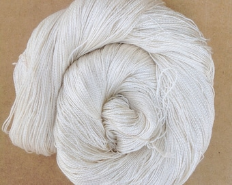 Silk Lace weight yarn, Mulberry Spun Silk Yarn, 2ply Knitting Yarn, Weaving Yarn, Crochet Yarn, Undyed, Natural