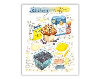 Blueberry muffin recipe art print, Kitchen art, Watercolor recipe painting, Food art, Recipe illustration, Bakery poster, Kitchen wall decor