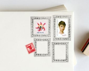 Postage Picture Frame Rubber Stamp for envelopes: Roman