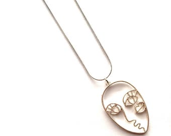 Face Pendant Face necklace etsy silver abstract face necklace audiocablefo