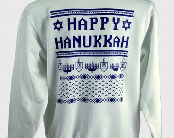 Ugly Hanukkah Sweater White Crewneck Sweatshirt For Sale