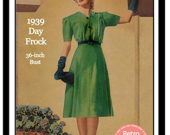 1930s  Frock Sewing Pattern -  PDF Sewing Pattern - Instant Download